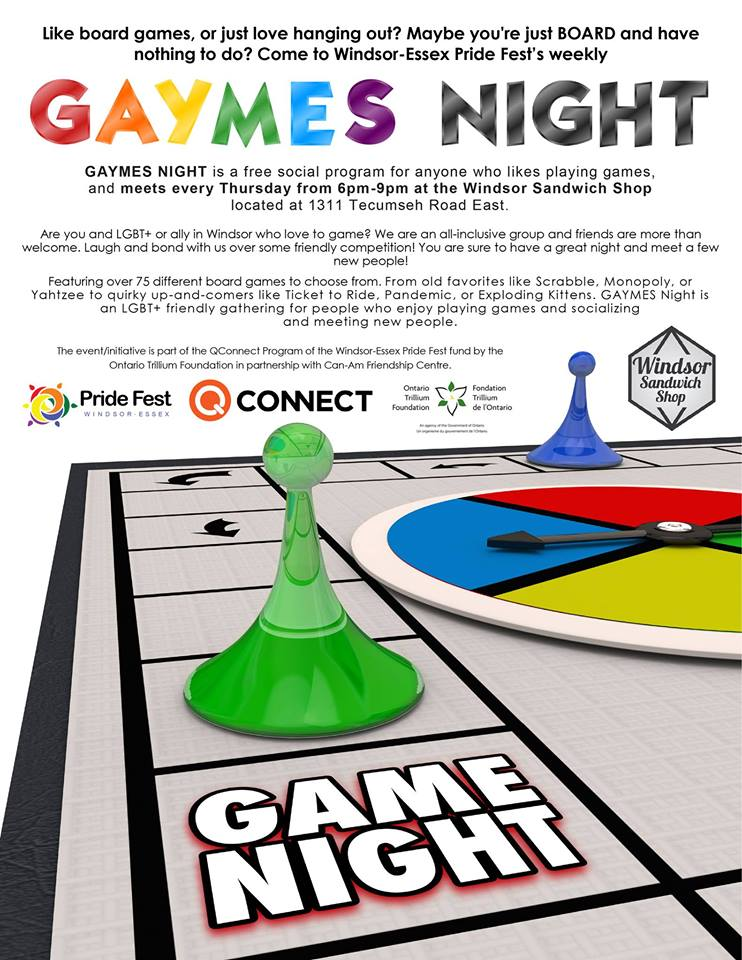 QueerEvents.ca - Gaymes Night - Event Poster
