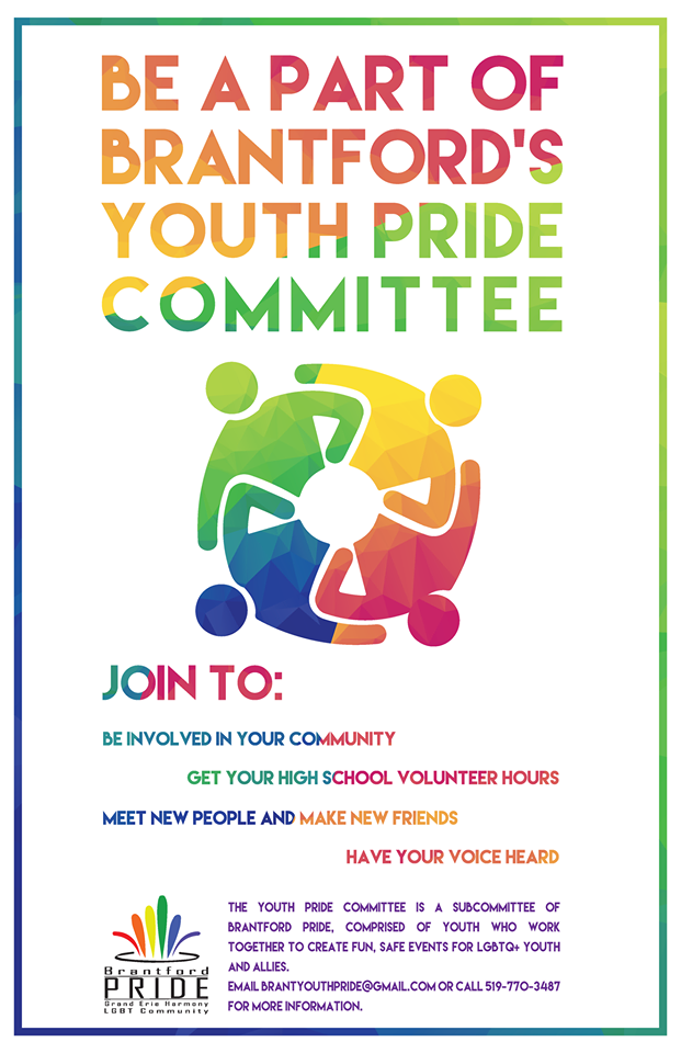 QueerEvents.ca - Brantford Youth Pride Committee - Resource Poster