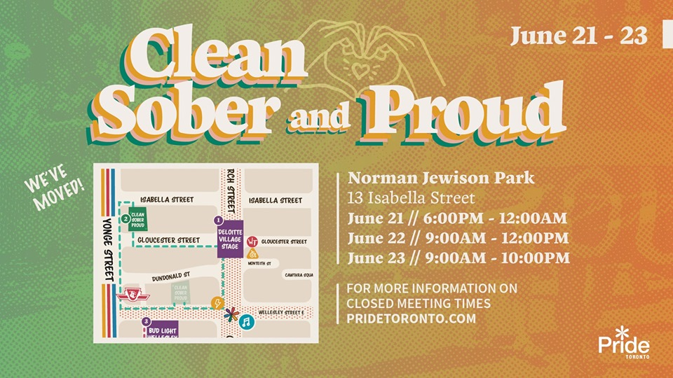 QueerEvents.ca - Toronto event listing - Clean, Sober & Proud 2019 event banner