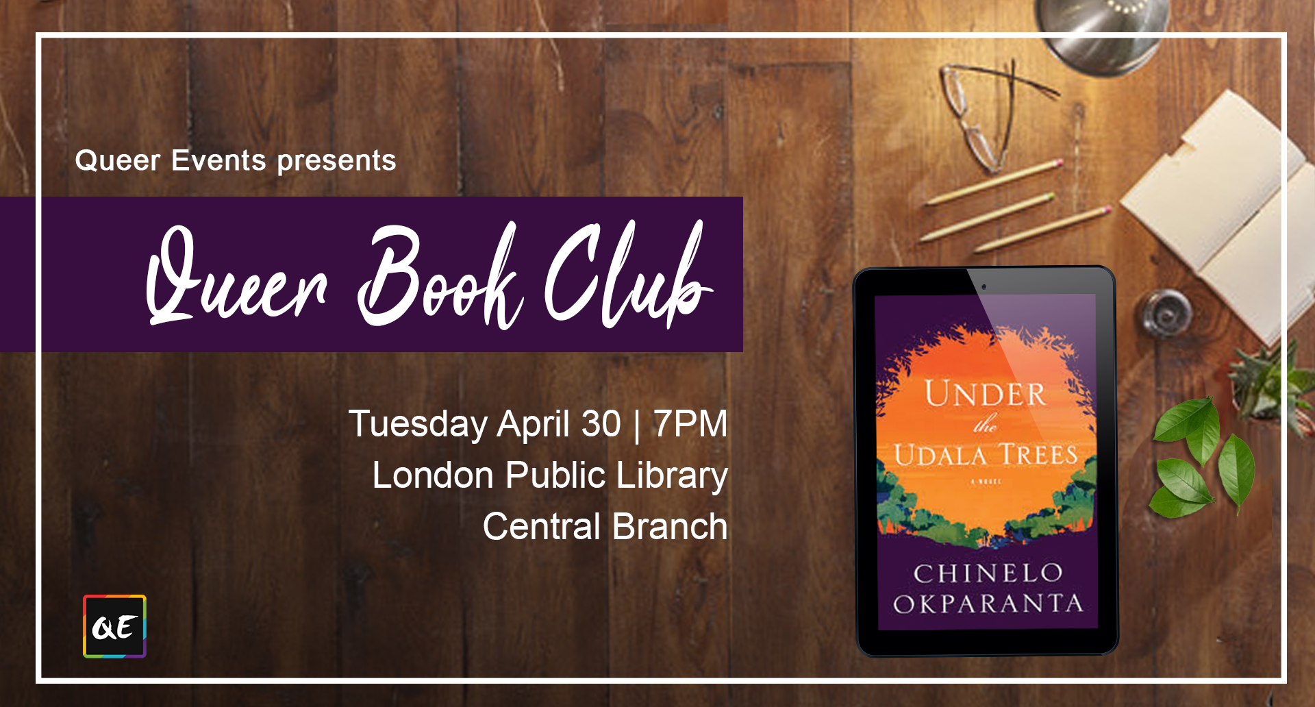 Queer Events Presents Queer Monthly Book Club - April banner