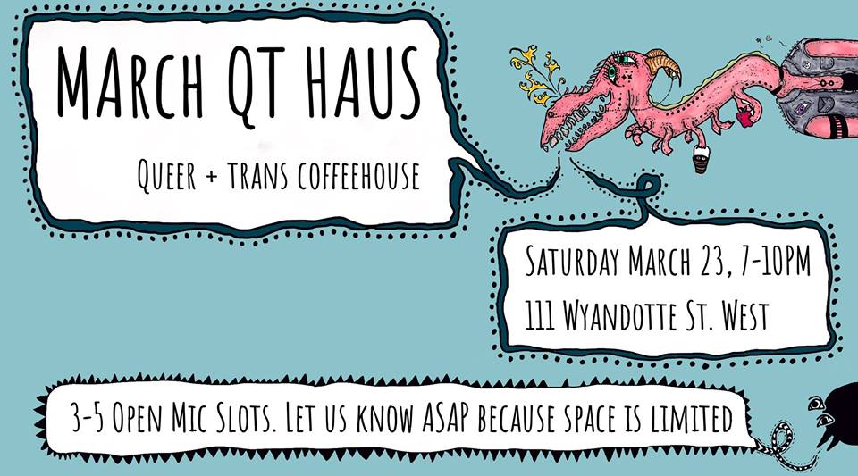 QueerEvents.ca - Windsor event listing - QT Haus - March Coffee House