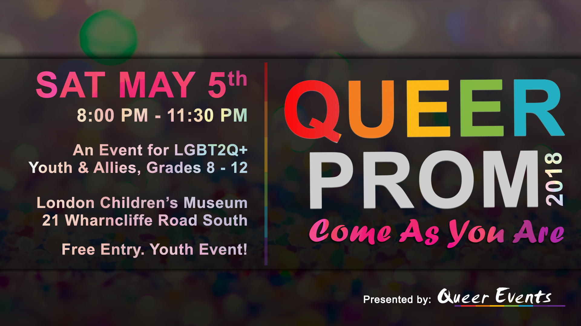 QueerEvents.ca - Queer Prom 2018 - event banner