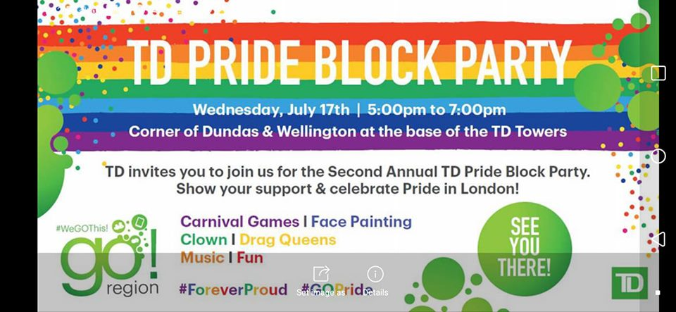 QueerEvents.ca - london event listing - TD Pride Block Party - 2019 event banner