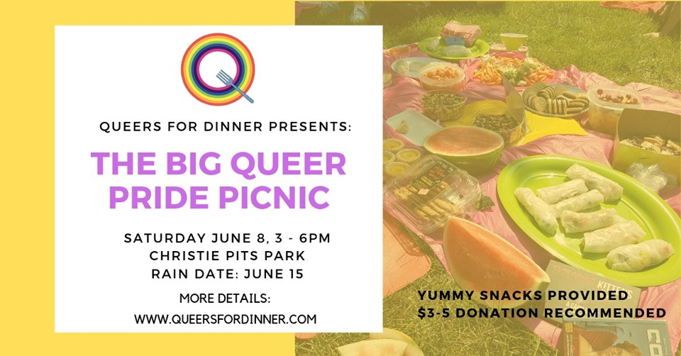 QueerEvents.ca - Toronto Event Listing - Big Queer Pride Picnic - Image of picnic blanket spread with food