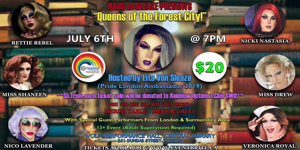 QueerEvents.ca - London event listing - Queens of the Forest City Drag Show event banner