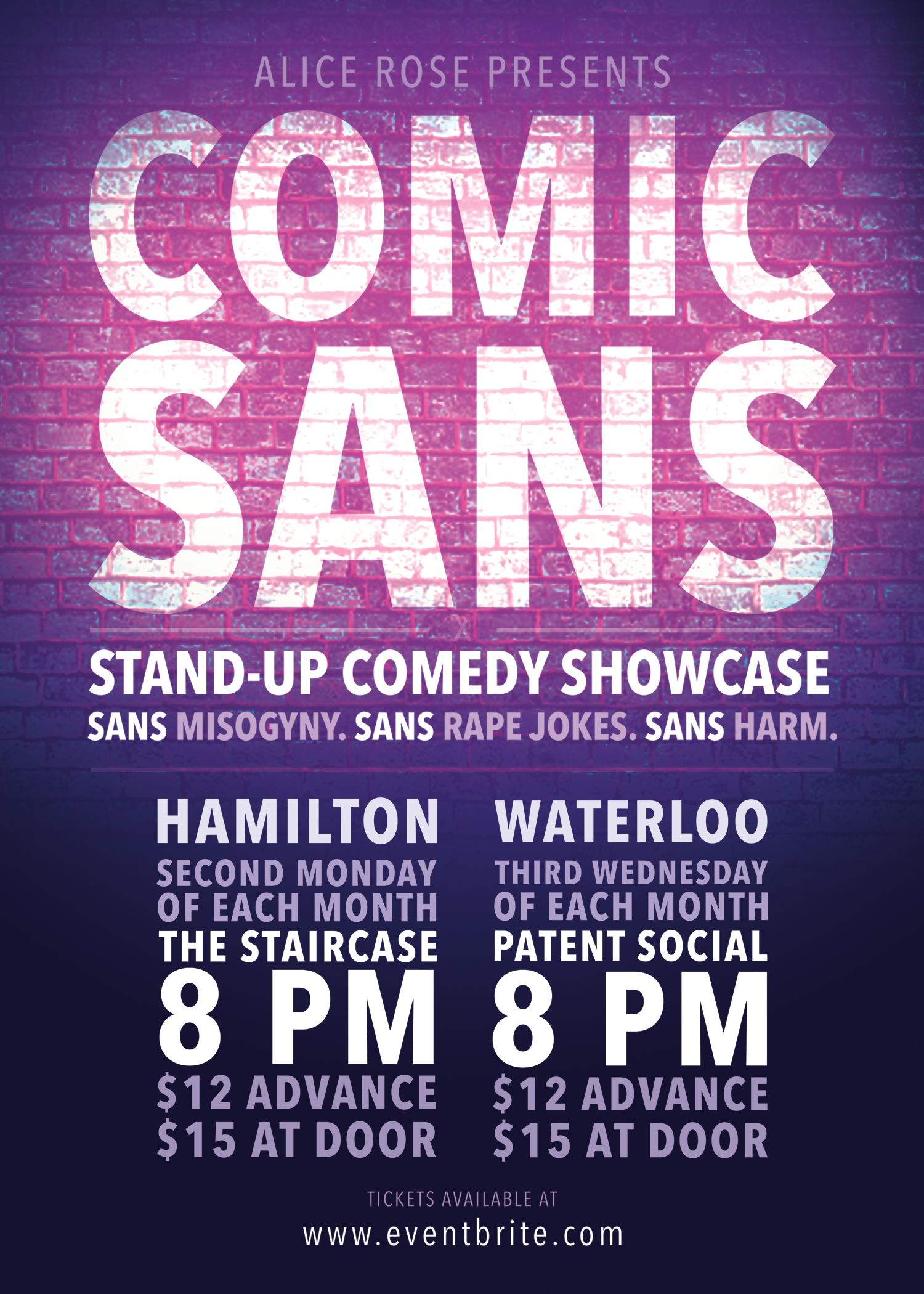 QueerEvents.ca - Waterloo event listing - Comic Sans Comedy Show