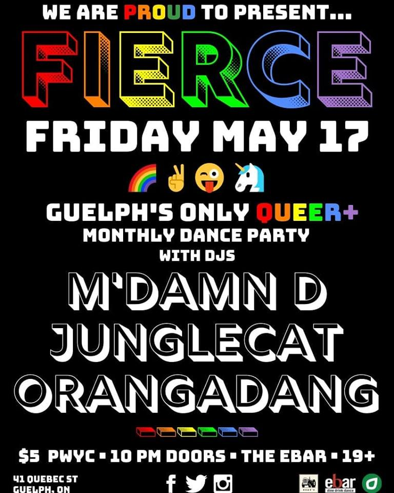 QueerEvents.ca -Guelph Event Listing - Fierce Friday - May event poster