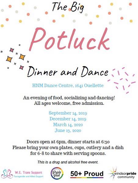 QueerEvents.ca - Windsor event listing - Potluck Dinner & Dance event poster