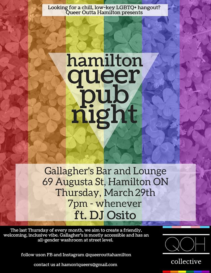 QueerEvents.ca - Hamilton Queer Pub Night - Event Poster