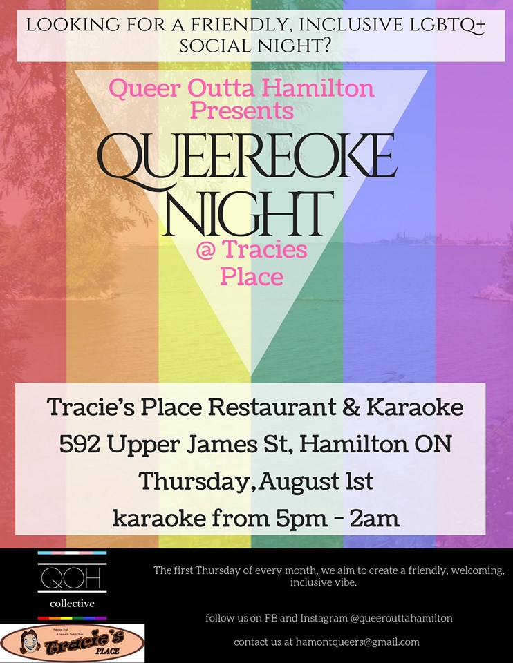 QueerEvents.ca - Hamilton event listing - Queereoke Night Aug 2019 Poster