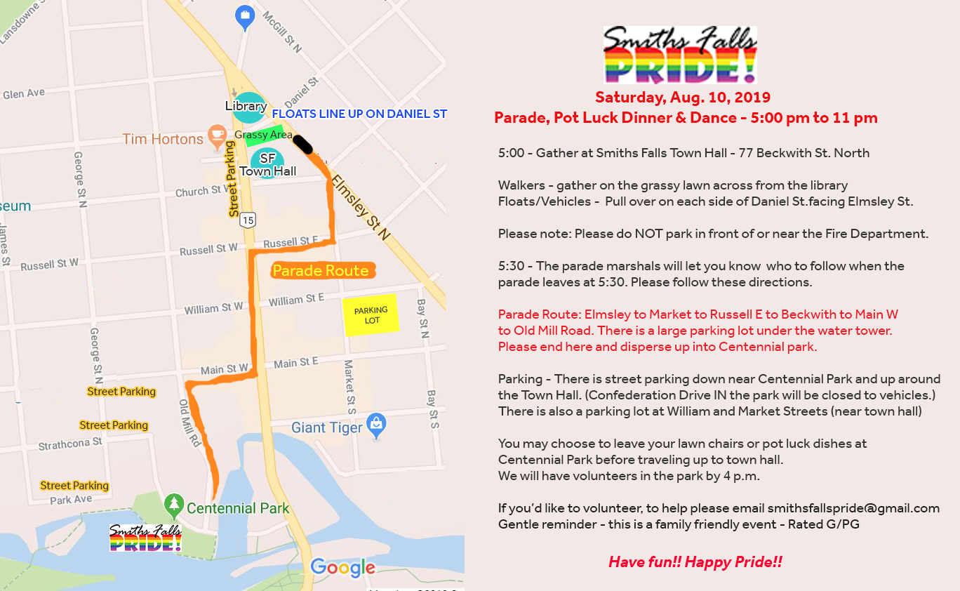 QueerEvents.ca - Smith Falls Pride - Parade Map and info poster