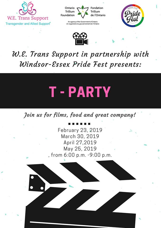 QueerEvents.ca - Windsor Event Listing - T-Party 2019 Spring Event Poster
