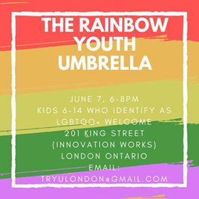 QueerEvents.ca - The Rainbow Youth Umbrella - Poster