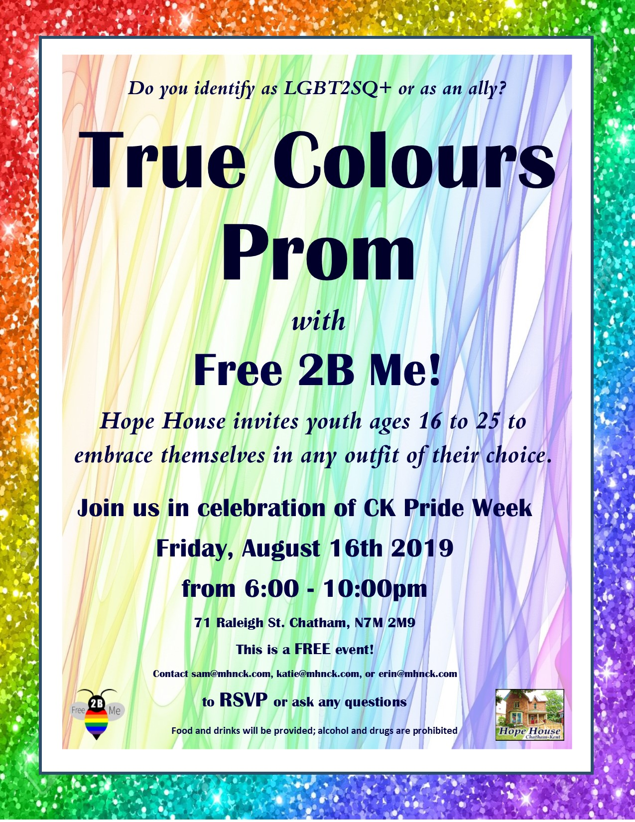 QueerEvents.ca - Chatham-Kent Event Listing - True Colours Prom 2019 Poster
