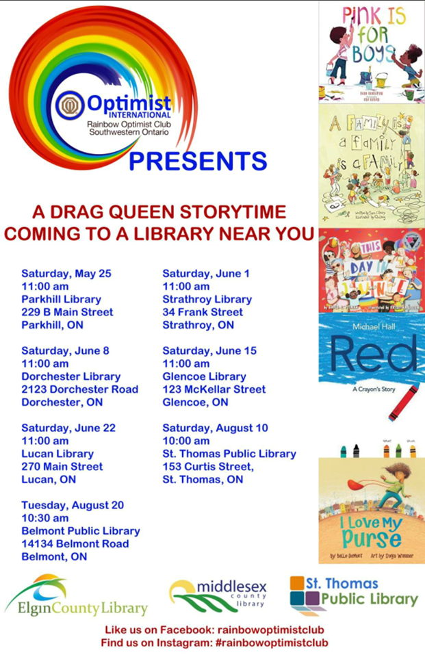 QueerEvents.ca - Elgin County Event Listing - Drag Queen Story Time