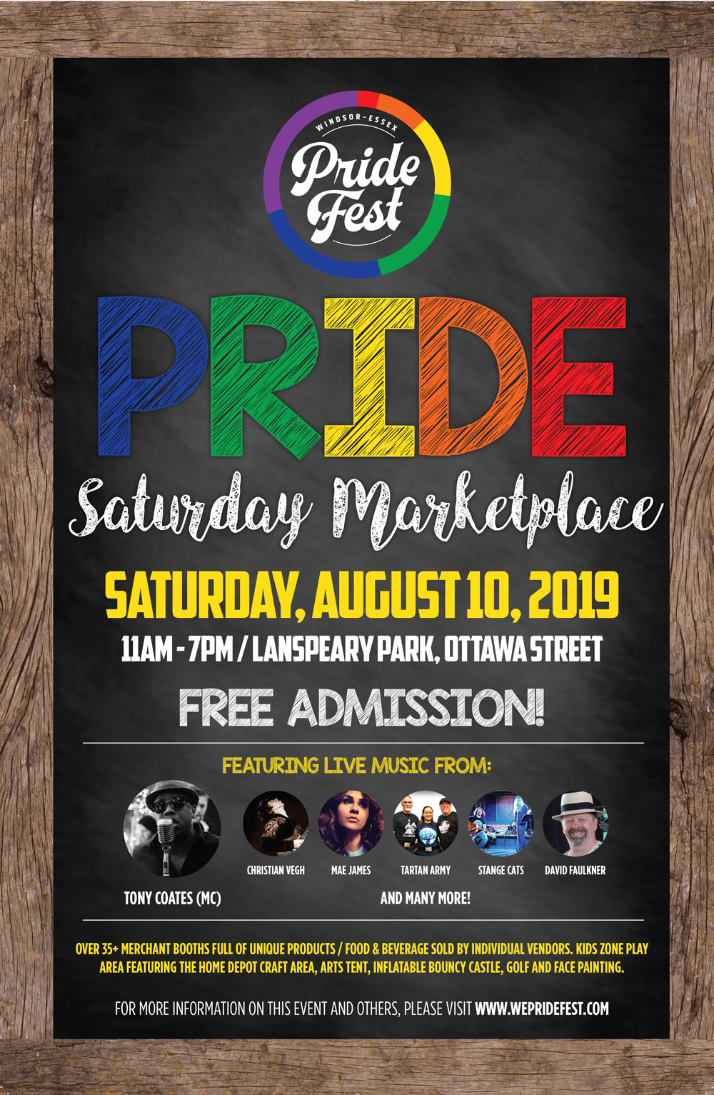 QueerEvents.ca - Windsor event listing - Pride Saturday Market Place 2019 - Event Poster