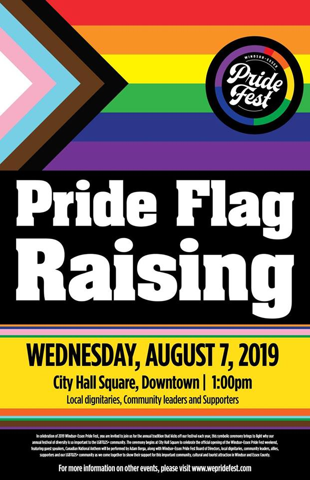 QueerEvents.ca - Windsor event listing - Pride flag raising 2019 poster