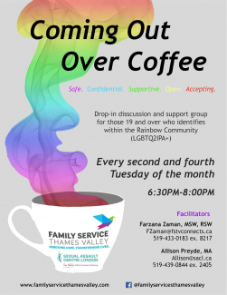 QueerEvents.ca - Coming Out Over Coffee - Event Poster