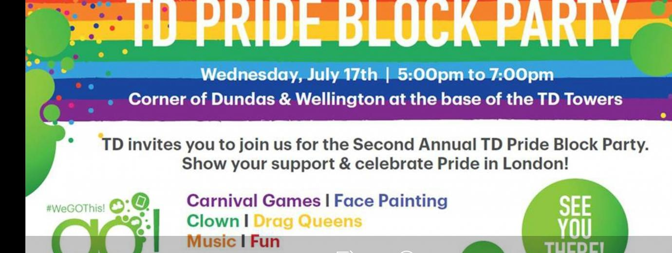 QueerEvents.ca - London event listing - TD Pride Block Party - event banner