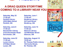 QueerEvents.ca - event listing - drag queen story time - summer library event poster