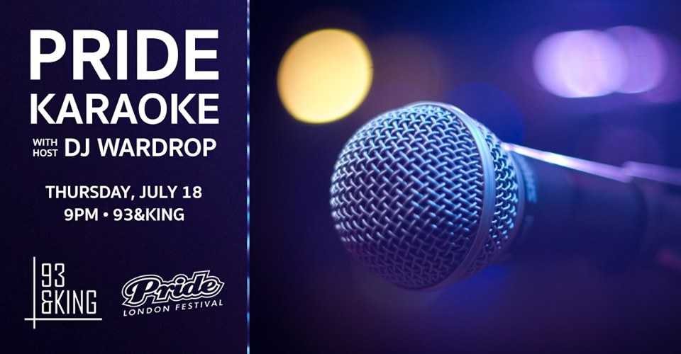 QueerEvents.ca - London event listing - pride karaoke - 2019 event banner