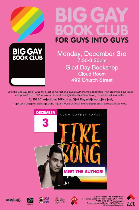 QueerEvents.ca - Toronto Event Listing - Big Gay Book Club - Fire Song Poster