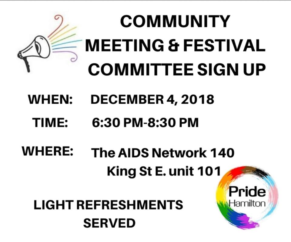 QueerEvents.ca - Hamilton Event Listing - Pride Hamilton community meeting poster