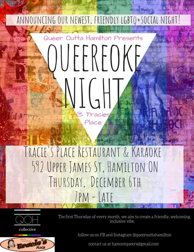 QueerEvents.ca - Hamilton event listing - Queereoke Night Dec2018