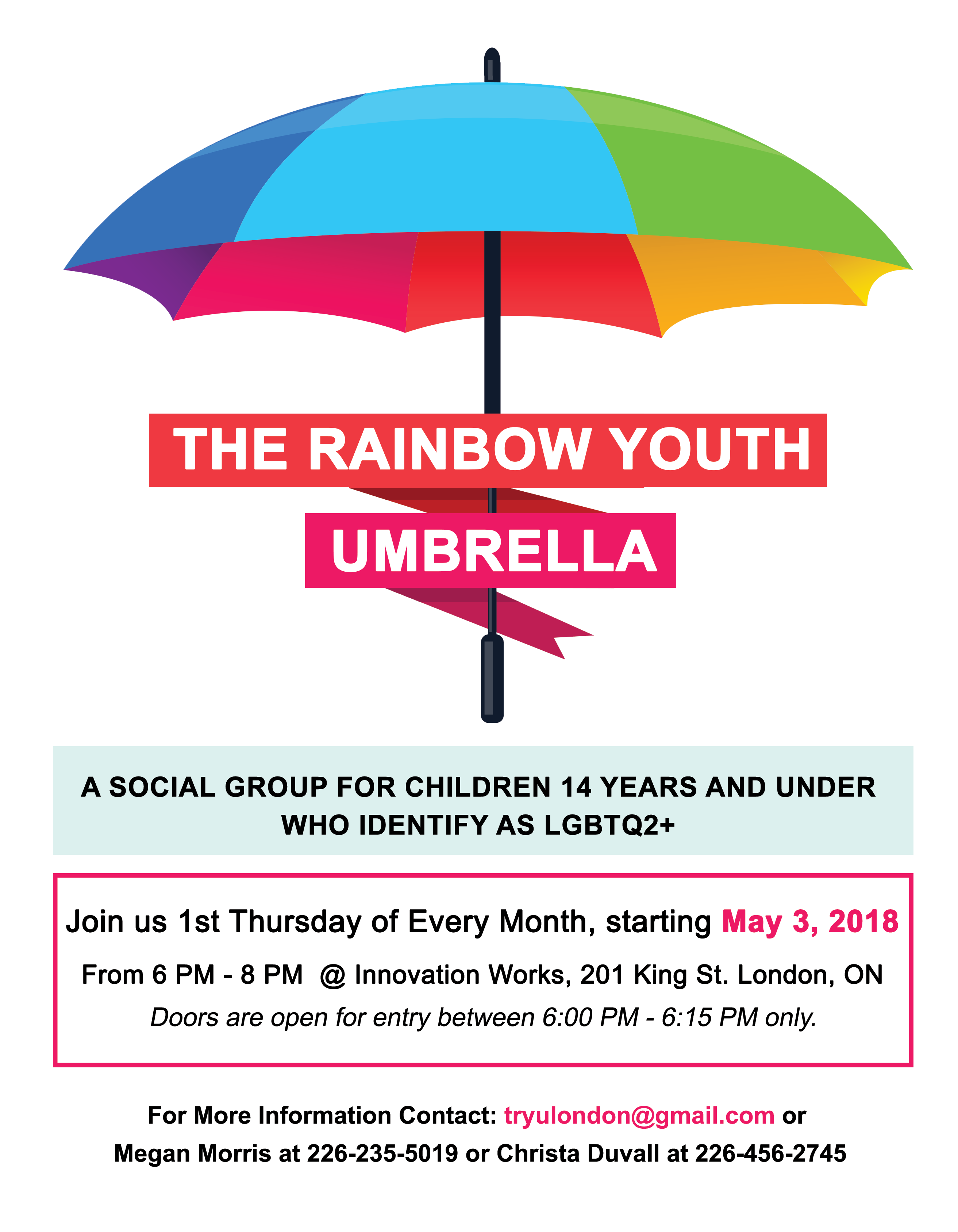 QueerEvents.ca - Rainbow Youth Umbrella  Social Group Poster